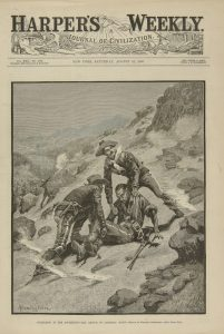 "Fig. 8. Frederic Remington, ""Soldering in the Southwest—the Rescue of Corporal Scott."" Cover of Harper's Weekly v. 30, no. 1548, (August 21, 1886). Wood engraving, 15 ¾ x 11 in. Private Collection."