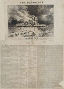 Fig. 10. Nathaniel Currier, lithographer and publisher (W. K. Hewitt, artist), Awful Conflagration of the Steam Boat Lexington in Long Island Sound on Monday Eveg, Jany 13th 1840, by which Melancholy Occurrence, over 100 Persons Perished, 1840. Lithograph, 23.5 x 17 in. From the collection of the Museum of the City of New York.