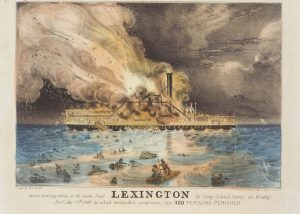 Fig. 11. Nathaniel Currier, lithographer (W. K. Hewitt, artist; The Sun, publisher), Awful Conflagration of the Steam Boat Lexington in Long Island Sound on Monday Eve, Jan. 13th 1840 by which Melancholy Occurrence, over 120 Persons Perished, 1840. Hand-colored lithograph, 10 x 13.5 in. Michele and Donald D'Amour, Museum of Fine Arts, Springfield, Massachusetts. Gift of Lenore B. and Sidney A. Alpert, supplemented with Museum Acquisition Funds, Photography by David Stansbury.