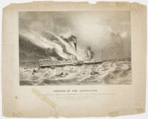 Fig. 12. John H. Bufford, lithographer and publisher, Burning of the Lexington. In Long Island Sound, on Monday Evening Jany. 13th 1840; by which Melancholy Occurrence about 150 Persons Perished, 1840. Lithograph, 10.62 x 13.39 in. Courtesy, American Antiquarian Society; gift of Charles H. Taylor.
