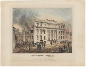 Fig. 2. Nathaniel Currier, lithographer (John H. Bufford, artist; J. Disturnell and J. H. Bufford, publishers), Ruins of the Merchant's Exchange N.Y. after the Destructive Conflagration of Decbr 16 & 17, 1835, 1835. Hand-colored lithograph, 13.375 x 17.375 in. From the collection of the Museum of the City of New York.