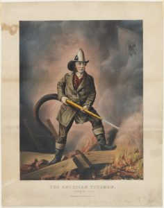 Fig. 3. Currier and Ives, publisher (Louis Maurer, artist), The American Fireman, Facing the Enemy, 1858. Hand-colored lithograph, 22 x 17.25 in. From the collection of the Museum of the City of New York.