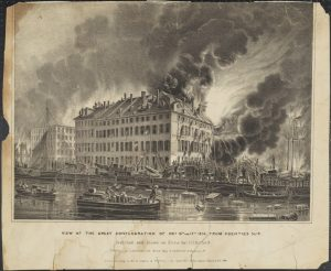 Fig. 4. Nathaniel Currier, lithographer (John H. Bufford, artist; J. Disturnell and J. H. Bufford, publishers), View of the Great Conflagration of Dec 16th and 17th 1835; from Coenties Slip, 1836. Lithograph, 9 x 12 in. From the collection of the Museum of the City of New York.