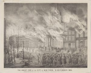 Fig. 5. H. R. Robinson (publisher; Alfred M. Hoffy, artist), The Great Fire of the City of New-York, 16 December 1835, 1836. 17.8125 x 22.4375 in. From the collection of the Museum of the City of New York.
