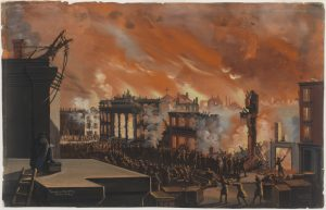 Fig. 6. Nicolino Calyo, Burning of the Merchants' Exchange, New York, December 16th & 17th, 1835. Gouache on paper, 13 x 20.375 in. From the collection of the Museum of the City of New York.