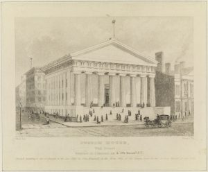 Fig. 7. John Disturnell, publisher (William Wade, artist; William H. Dougal, lithographer), Custom House, Wall Street, 1845. Lithograph, 2.12 x 4.1 in. From the collection of the Museum of the City of New York.