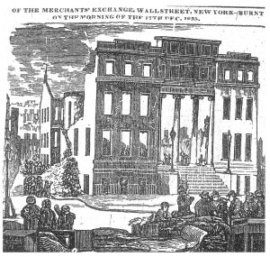 "Fig. 8. The Merchants' Exchange fire in the Herald, December 21, 1835. Woodcut. ""Ruins of the Merchant's Exchange, Wall Street, New York-Burnt on the Morning of the 17th Dec. 1835."" Herald [New York, New York] December 21, 1835: 19th Century U.S. Newspapers, electronic resource. Woodcut, approximately 4 x 6 in."