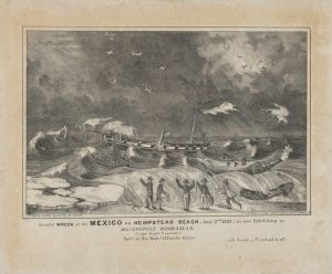 Fig. 9. Nathaniel Currier, lithographer (H. Sewell, artist; B. H. Day, publisher), Dreadful Wreck of the Mexico on Hempstead Beach. Jany. 2nd 1837; As Now Exhibiting at Haningtons Dioramas. Lithograph, 6.5 x 9.875 in. The Metropolitan Museum of Art, New York. The museum believes this image is believed to be in the public domain and free of other restrictions. As such, the image has been made publicly available per the museum's Open Access for Scholarly Content policy: . Image can be viewed at Image can be viewed at: .