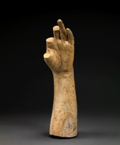 "Studio of Hiram Powers, Cast of the Forearm and Left Hand of ""Greek Slave"" (thumb and two missing fingers), around 1843 plaster, Smithsonian American Art Museum, Museum purchase in memory of Ralph Cross Johnson."