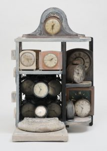 Betye Saar, Still Ticking (2005). Mixed media assemblage, 29 1/2 x 19 x 16 in. Courtesy of the artist and Roberts & Tilton, Culver City, California. © Betye Saar.