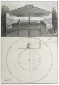 Fig. 11. Robert Fulton, Preparatory drawing for a brevet d'importation: tableau circulaire, nommé panorama, 1799. Ink-and-wash drawing. Institut National de la Propriété Industrielle, Courbevoie, France. Source: Archives INPI