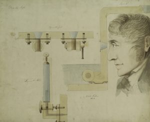 Fig. 4. Robert Fulton, Three figures: 1. Mode of placing conic glass windows with cork stops in case of accident. 2. Lid and cap of a dome for observation. 3. Bathometer, gauge for measuring depth., 1806. Watercolor. Manuscripts and Archives Division, The New York Public Library, Astor, Lenox and Tilden Foundations.