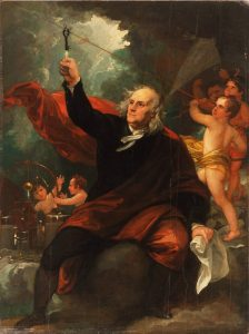 Fig. 6. Benjamin West, Benjamin Franklin Drawing Electricity from the Sky, c. 1816. Oil on slate, 13 3/8 x 10 1/16 inches. Philadelphia Museum of Art, Gift of Mr. and Mrs. Wharton Sinkler, 1956.