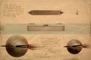 Fig. 7. Robert Fulton, Small torpedo, 1804. Ink-and-wash drawing. Courtesy of Lehigh University Libraries Special Collections, Bethlehem, PA.