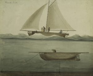 Fig. 8. Robert Fulton, Two views of Fulton's submarine, under sail and submerged. Scale one quarter of an inch to a foot., 1806. Watercolor. Manuscripts and Archives Division, The New York Public Library, Astor, Lenox and Tilden Foundations.