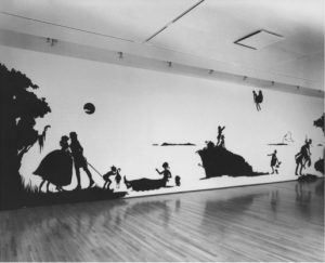 Fig. 2. Kara Walker, Gone, An Historical Romance of a Civil War as it Occurred Between the Dusky Thighs of One Young Negress and Her Heart, 1994. Cut paper on wall, 13 x 50 feet. Courtesy of the artist and Sikkema Jenkins & Co., New York.