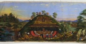 Fig. 4. John J. Egan, Huge Mound and the Manner of Opening Them, scene 20 from the Panorama of the Monumental Grandeur of the Mississippi Valley, c. 1850. Tempera on cotton muslin sheeting, 2.3 x 106.7 meters. St. Louis Art Museum, Eliza McMillan Fund.