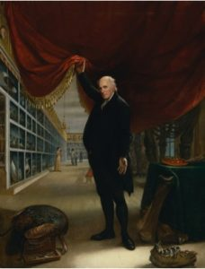 "Fig. 5. Charles Wilson Peale, The Artist in His Museum, 1822. Oil on canvas.8' 8"" x 6'8"". Courtesy of the Pennsylvania Academy of Fine Arts, Philadelphia, gift of Mrs. Sarah Harrison, the Joseph Harrison, Jr. Collection."