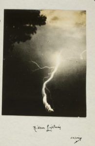 Fig. 5 William N. Jennings, Ribbon Lightning, August 1887. Silver gelatin print, image: 3 9/16 x 2 3/4 in.; mount: 6 x 3 1/2 in. George Eastman House, Rochester, New York.