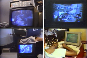 Fig. 3. Mobile Image, Electronic Café, 1984. Photograph of live event in Los Angeles. Courtesy of Kit Galloway.