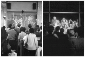 Fig. 5. Mobile Image, Hole-in-Space, 1980. Photograph of live event in Los Angeles and New York. Courtesy of Kit Galloway.