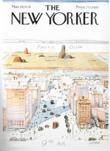 """Fig. 2. Saul Steinberg, """"View of the World from 9th Avenue."""" Cover of the New Yorker for March 29th, 1976."""