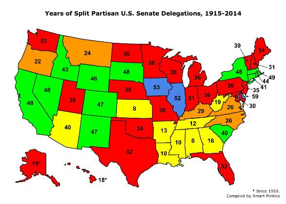 Map Of Us Senators.Strange Bedfellows A Historical Review Of Divided Us Senate