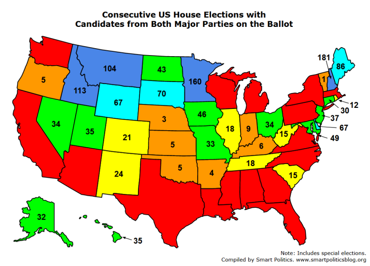 Which States Have The Largest And Longest Streaks Fielding - Us-map-by-political-party